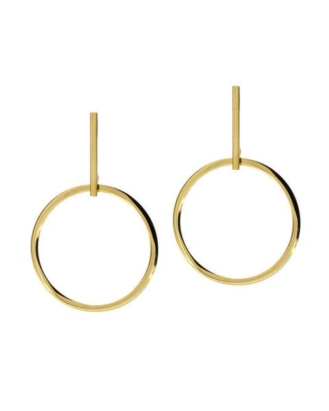 round hanging statement gold earrings ellie vail