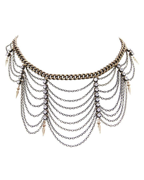 Ettika Multiple Chain Necklace Bib Collar