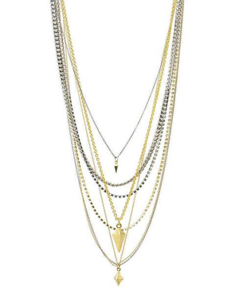 Ettika Mixed Metal Pyramid and Spike Necklace