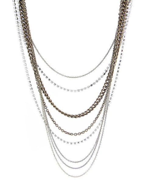 Ettika Multi Layered Mix Metal Chain Necklace
