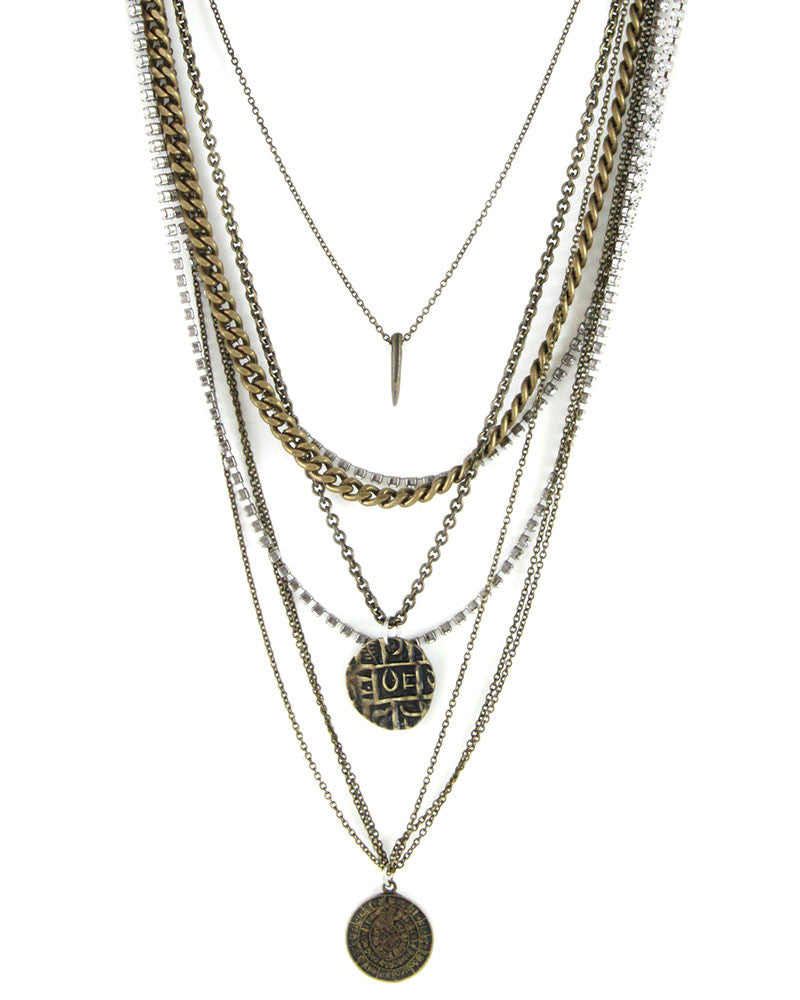 ettika mixed metal coin necklace