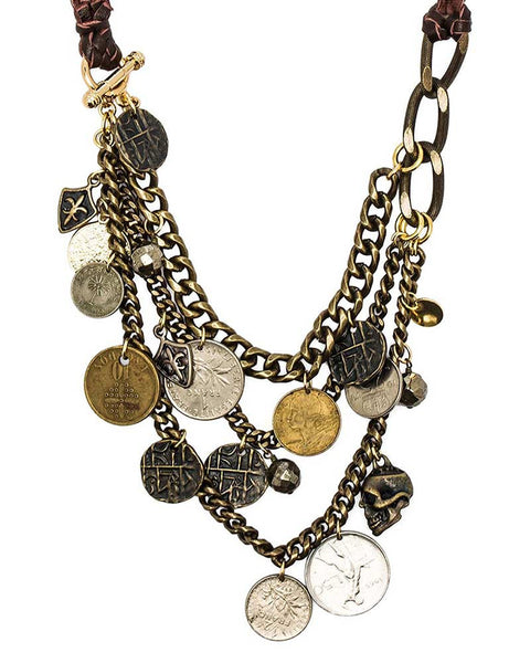 Ettika Coin Necklace with Skull