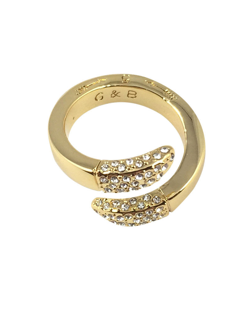 Giles and Brother Double Spike Bypass Ring Pave Gold