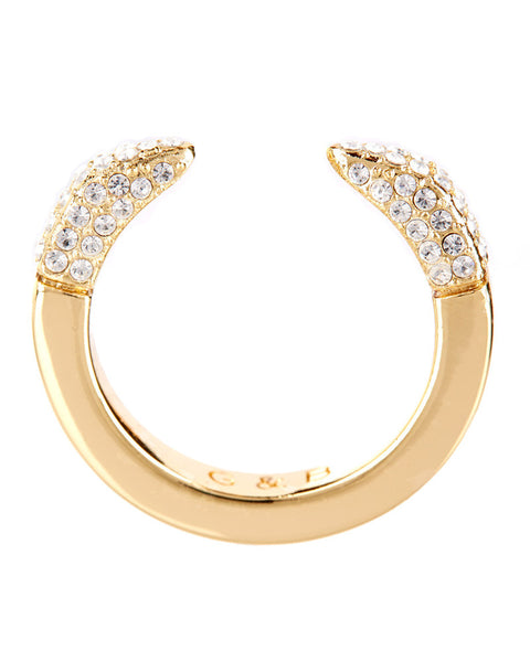 Giles and Brother Gold Double Spike Pave Ring
