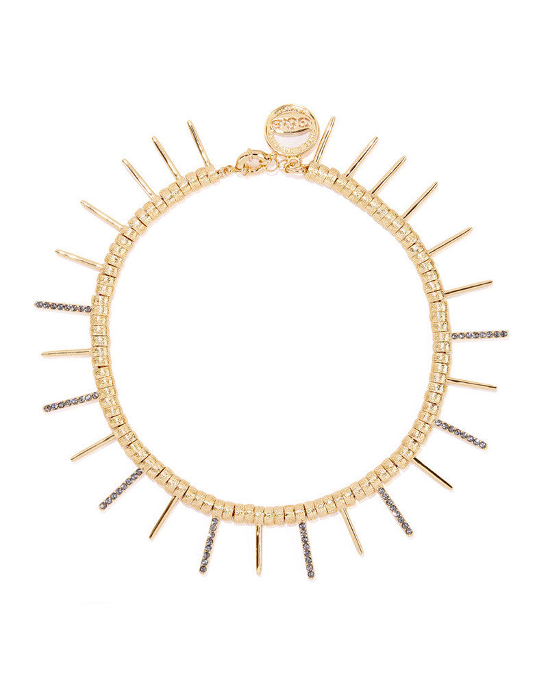 Giles and Brother Gold Ray Pave Spiked Choker