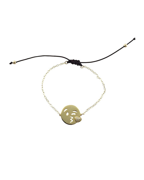 Gold Kisses Emoji Bracelet Black String