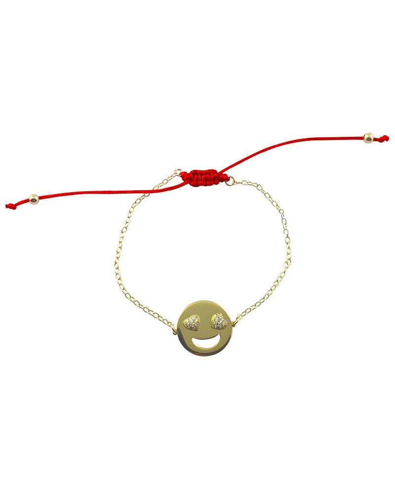 Gold Emoji Bracelet Red string cz