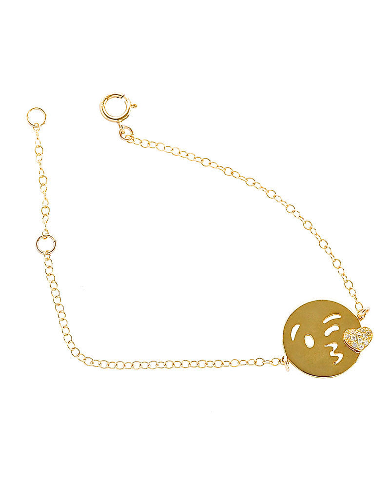 emoji kisses bracelet gold