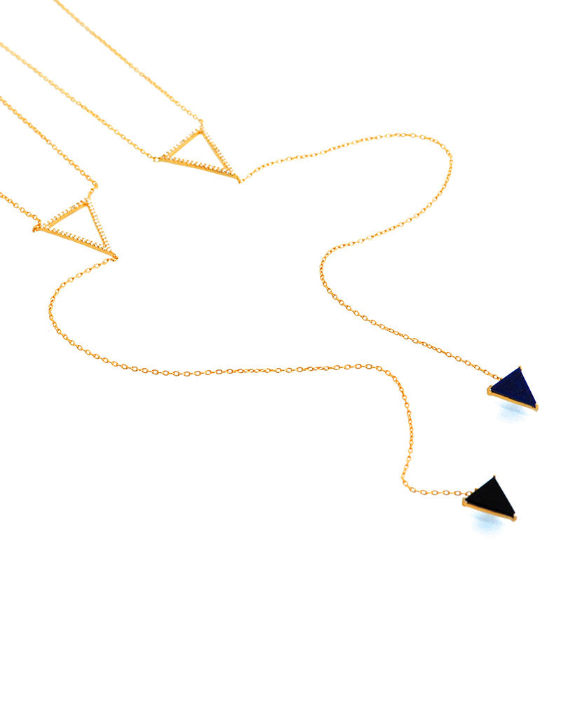 Gina Cueto Lapis Lariat Gold Necklace