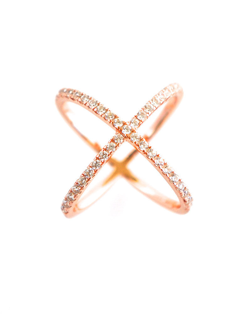 Gina Cueto Criss Cross Pave Ring Rose Gold