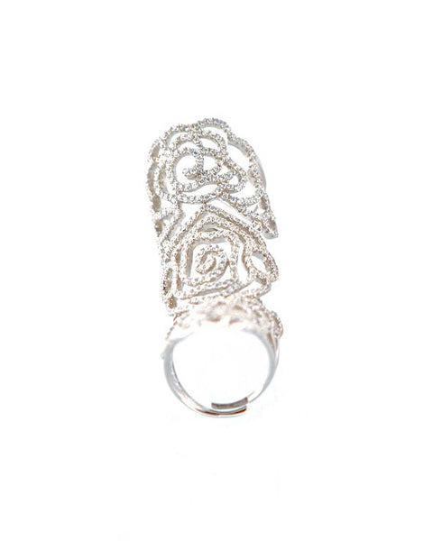 Silver Hinged Pave Ring Rosa from Gina Cueto