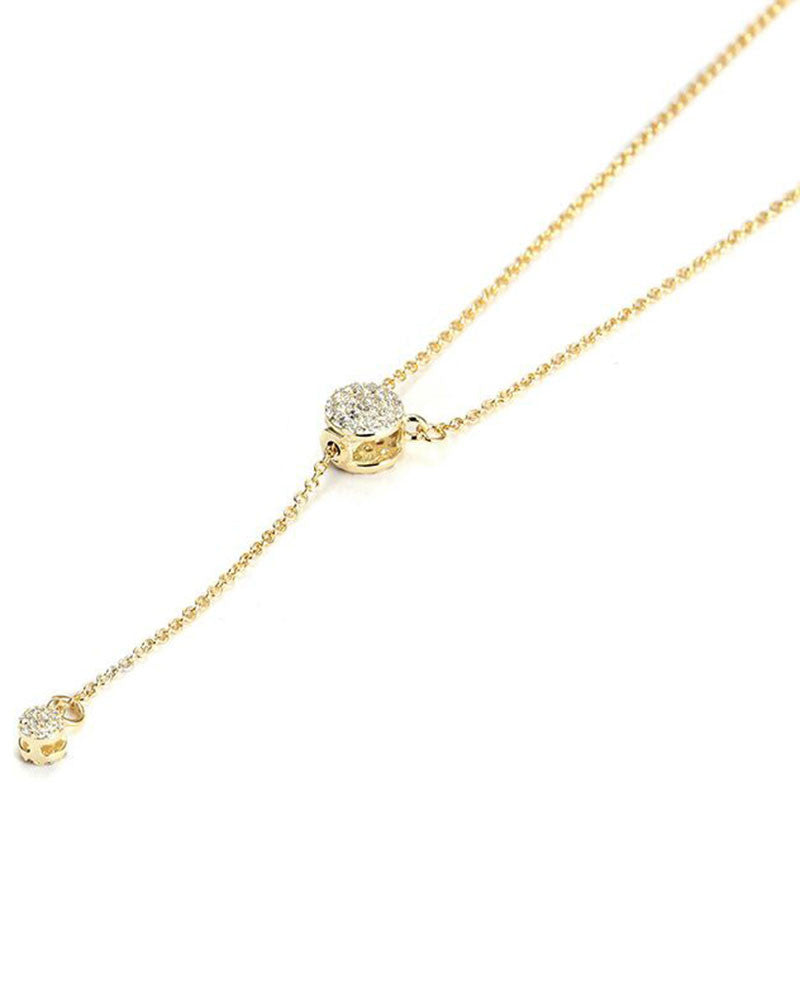adjustable pave gold lariat necklace