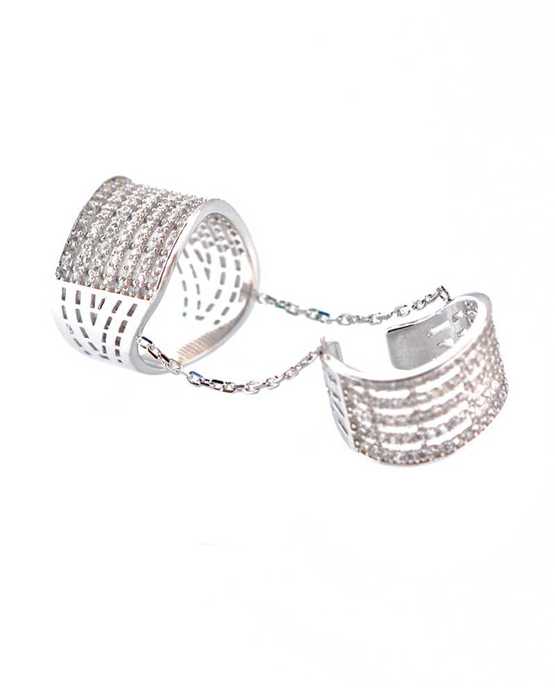 Two Silver Rings Connected With Chain Stella Gina Cueto