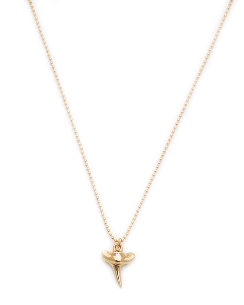 Gold and Gray Mini Gold Shark Tooth Necklace
