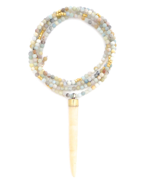 Gold and Gray Amazonite Bone Spike Necklace