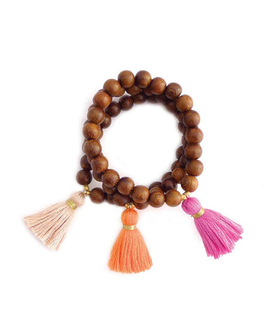 Gold and Gray Medium Wood Beaded Tassel Bracelets