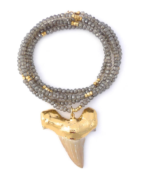 Gold and Gray Large Shark Tooth Charm Necklace