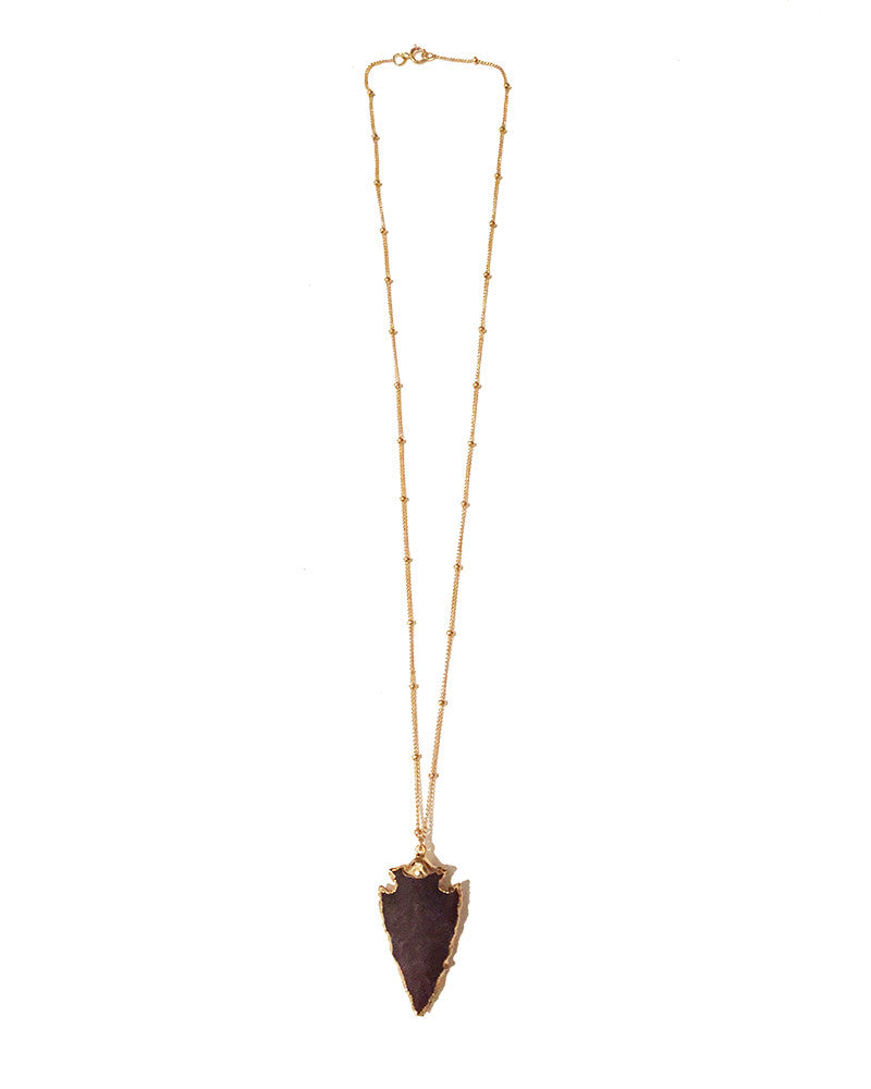 Gold and Gray Mini Agate Arrowhead Necklace