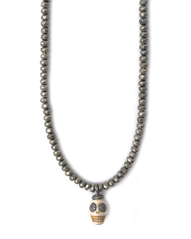 Gold and Gray Pyrite Mini Diamond Skull Necklace