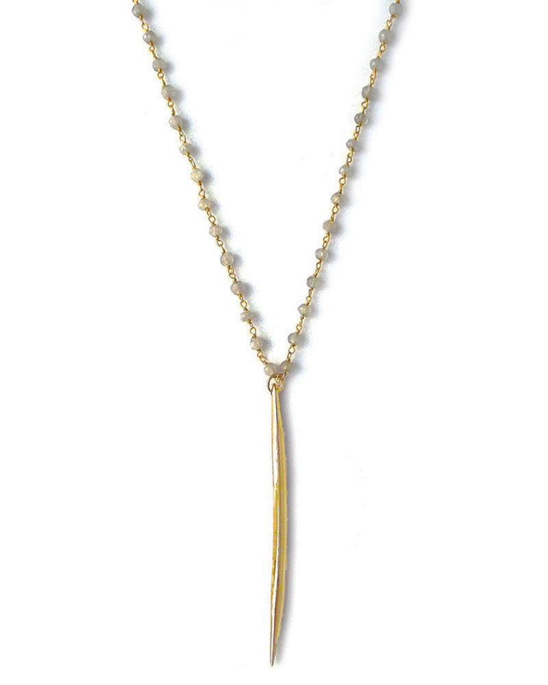 Gold and Gray Wire Wrapped Moonstone Gold Spike Necklace