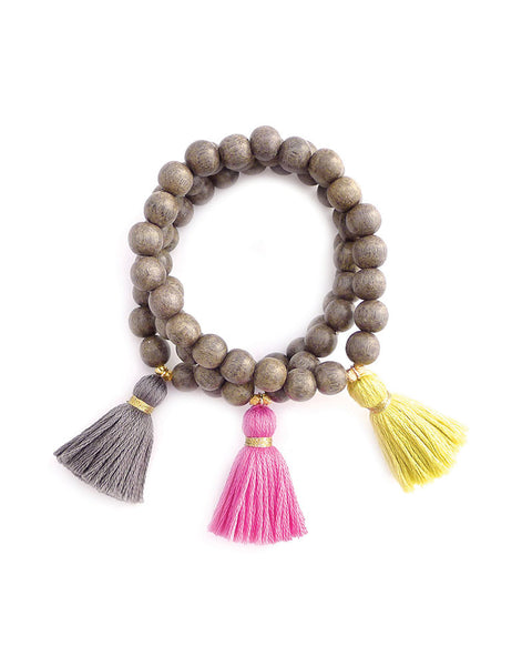 Gold and Gray Gold Wood Tassel Bracelet