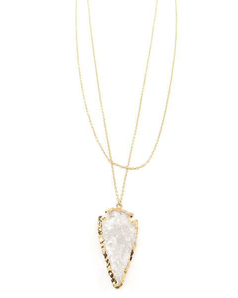 Gold and Quartz Arrowhead Necklace