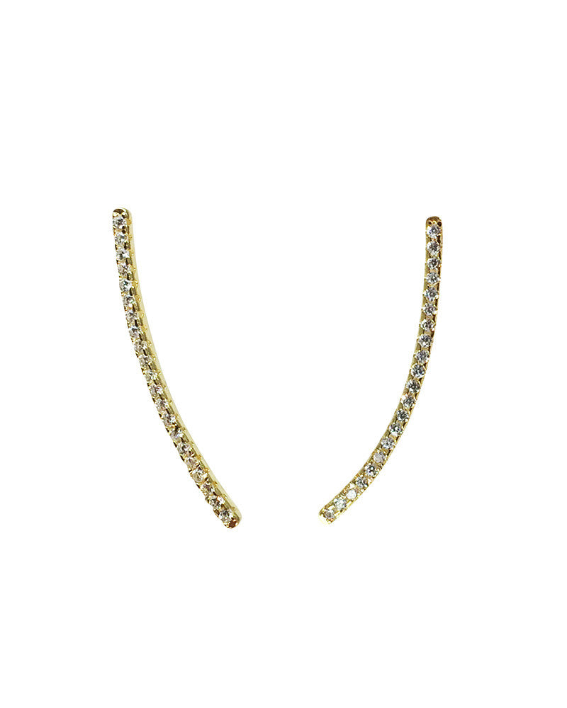 Gold Pave bar ear climbers