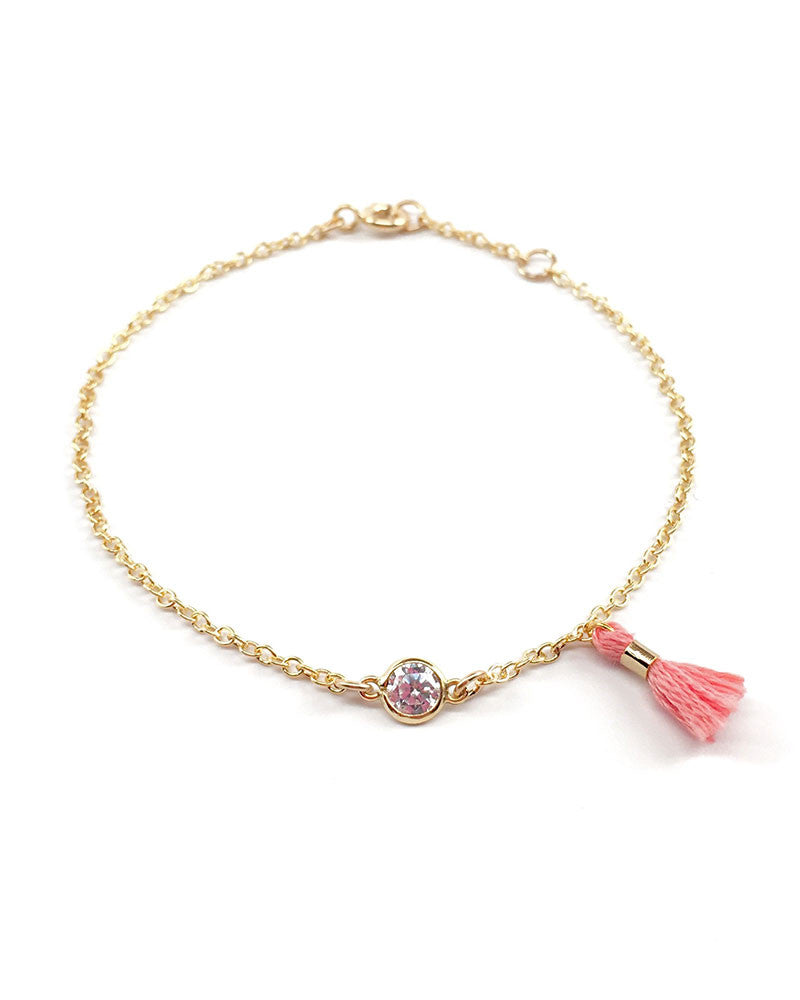 Gold Bracelet with tiny pink tassel
