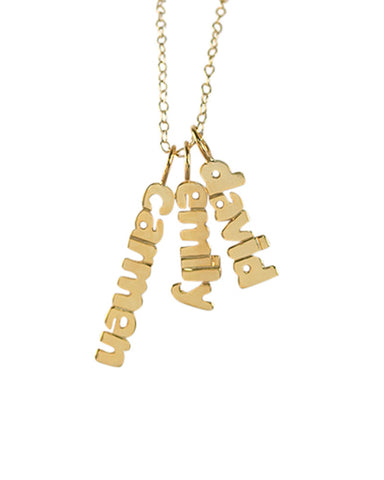 vertical mini name plate necklace gold