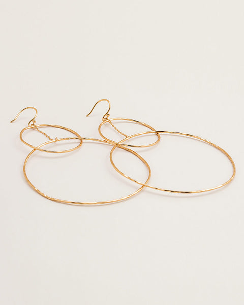 large interlocking circle round drop earrings