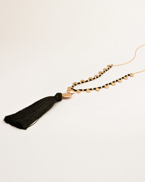 tassel necklace black gorjana beaded designer