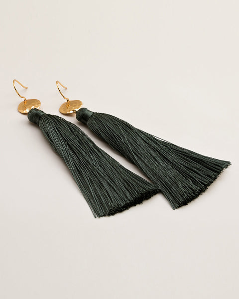 gorjana tassel earrings womens jewelry designer hanging gold slate blue