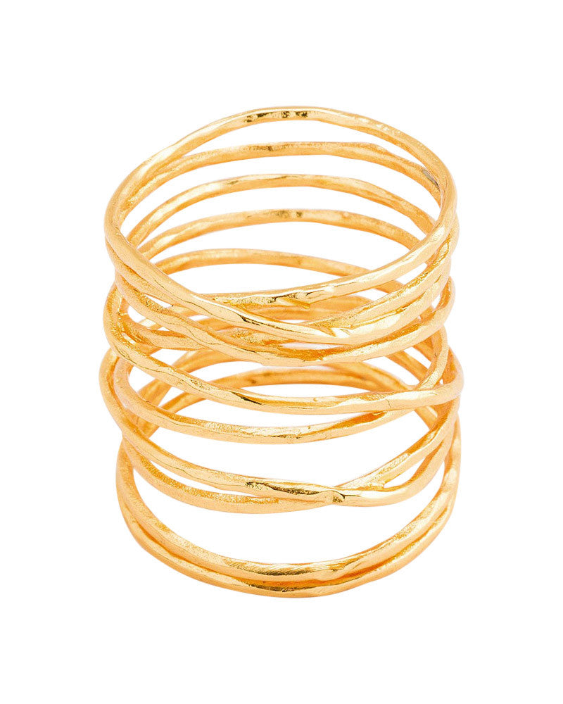 Gorjana long gold woven ring