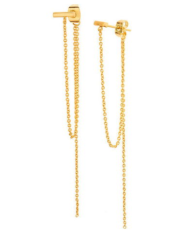 gorjana gold draped chain earrings nina studs