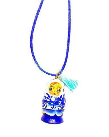Gunner and Lux Agatha Blue Stacking Doll Necklace