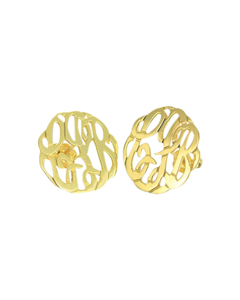 gold cursive initial earrings