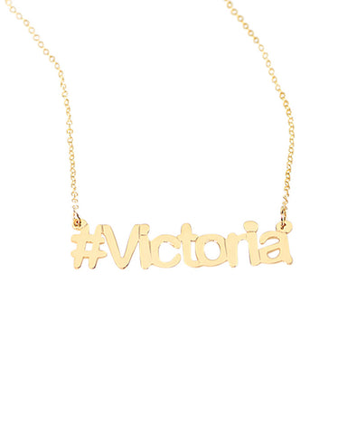 personalized hash tag gold necklace