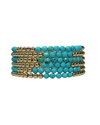 turquoise bracelet beaded gold stack womens ladies girls