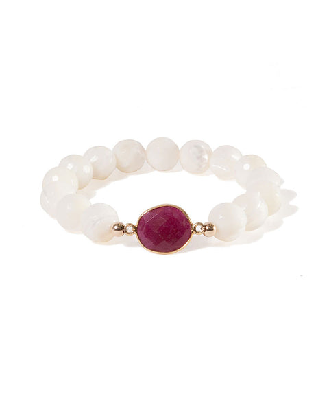 Jaimie Nicole Dyed Ruby Mother of Pearl Bracelet