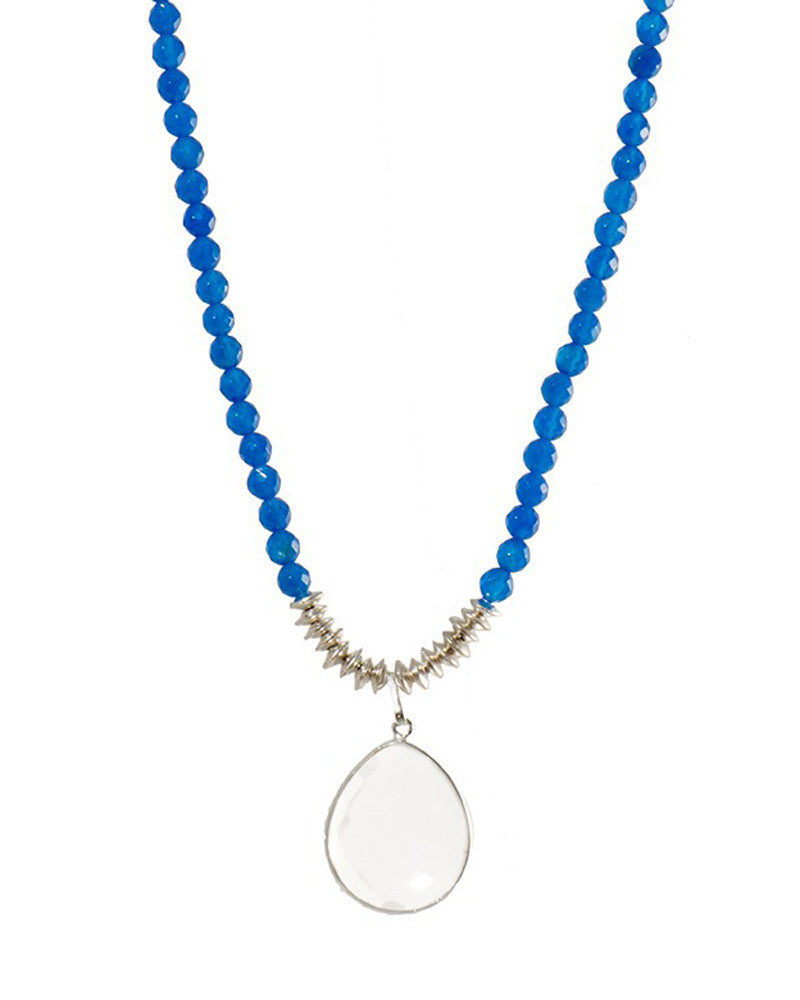 Jaimie Nicole Blue Onyx Silver Necklace