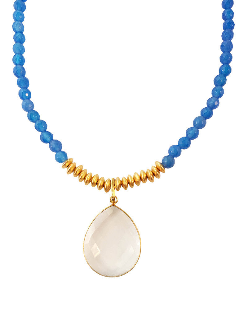 Jaimie Nicole Blue Onyx and Gold Necklace