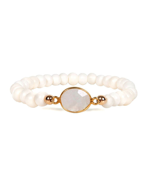 Jaimie Nicole Bone Beaded Moonstone Bracelet