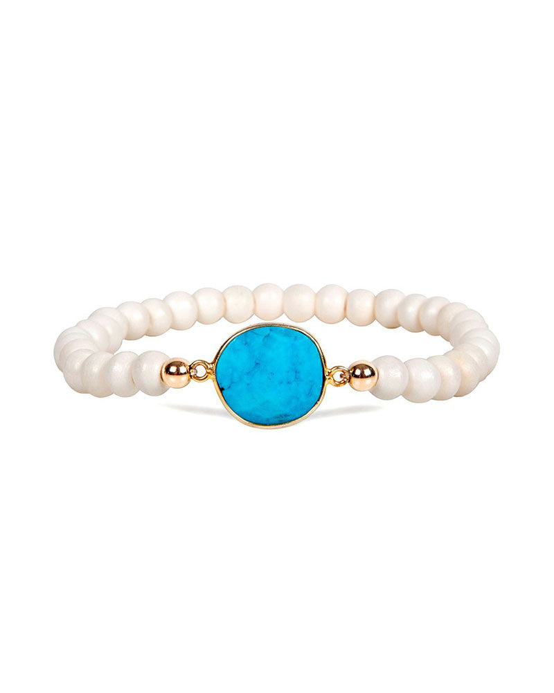 Jaimie Nicole Bone Beaded and Turquoise Bracelet