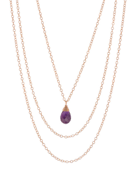 February Amethyst Birthstone Necklace