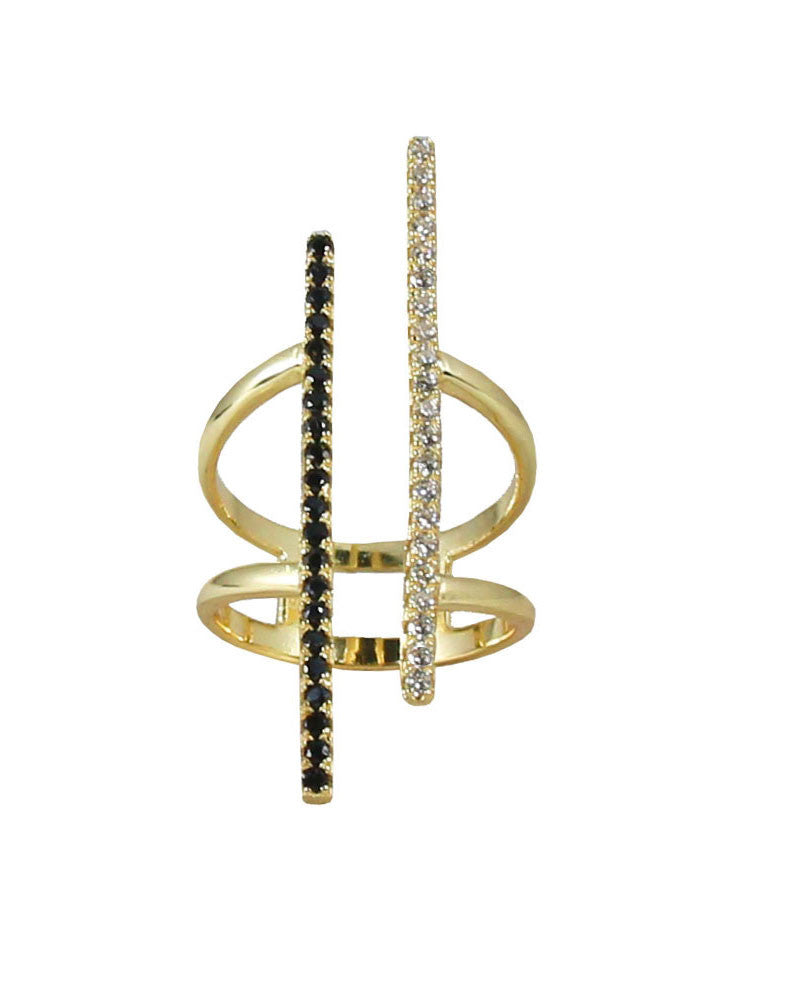 Gold Jaimie Nicole Two Pave Bar Ring