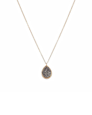 Jaimie Nicole Gold with Silver Druzy Teardrop Necklace