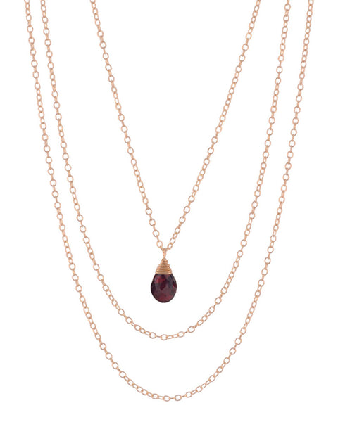 january garnet birthstone necklace