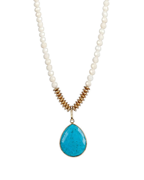 Jaimie Nicole | Mother of Pearl Turquoise Teardrop Necklace