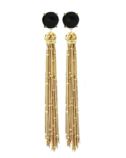 onyx and gold tassel earrings
