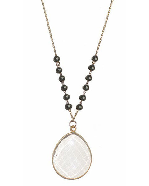pyrite beaded teardrop quartz necklace